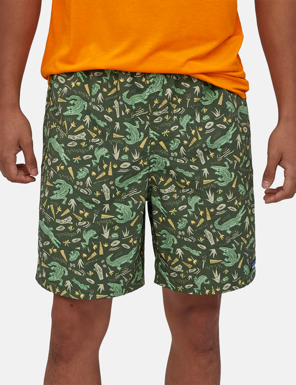 "Patagonia Baggies Longs Shorts (7"") - Alligators and Bullfrogs: Kale Green"