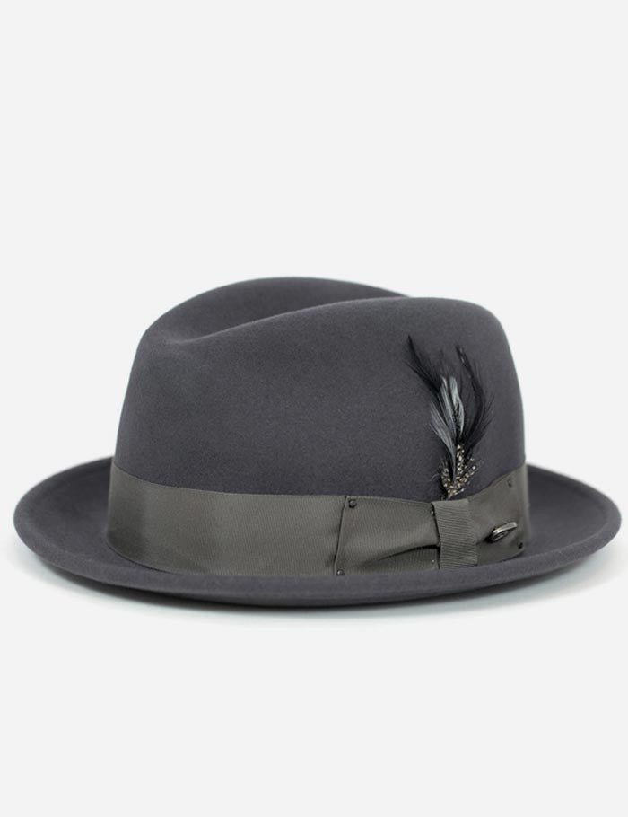 Bailey Tino Felt Crushable Trilby Hat - Basalt Grey