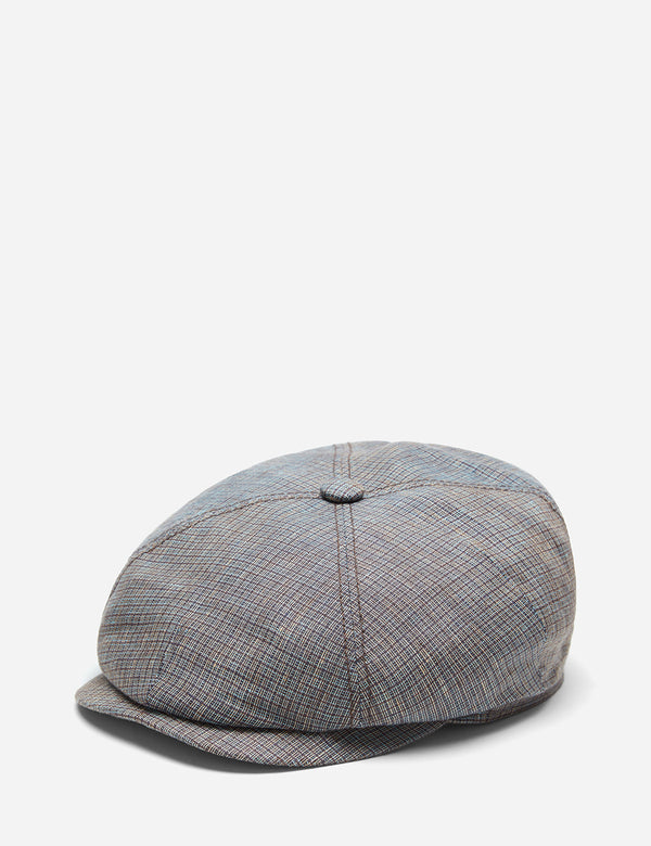 Stetson 4-Panel Flat Cap (Linen) - Brown/Blue Check