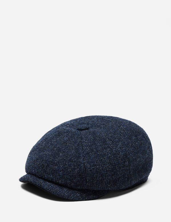 Stetson Hatteras Cross Hatch Newsboy Cap (Wool) - Blue