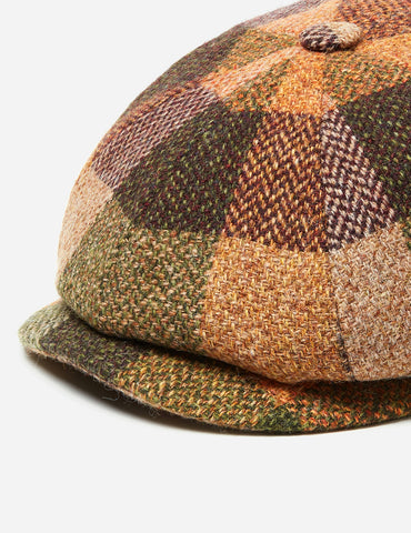 Stetson Hatteras Check Newsboy Cap (Wool) - Burgundy Mix
