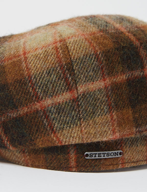 Stetson Hatteras Lambswool Check Flat Cap - Brown