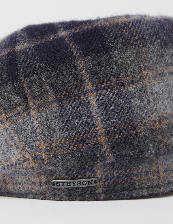 Casquette Plate Stetson Hatteras Lambswool Check - Navy Blue