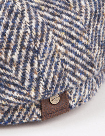 Stetson Hatteras Herringbone Newsboy Cap - Brown/Blue