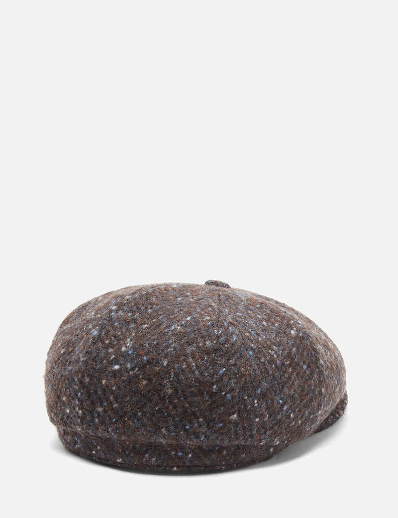 Stetson Hatteras Newsboy Cap (Wool Herringbone) - Brown/Blue Fleck