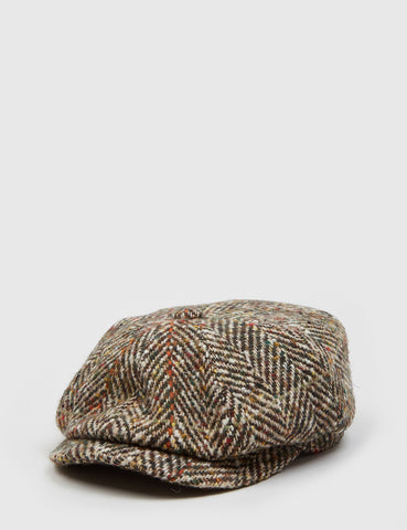 Stetson Hatteras Herringbone Newsboy Cap - Brown/Orange