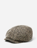 Stetson Hatteras Herringbone Newsboy Cap - Black/Brown