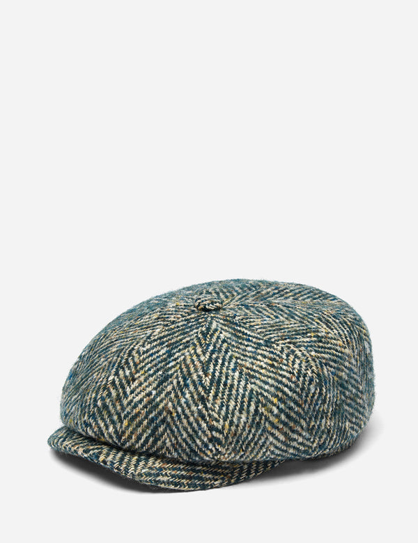 Casquette Plate Stetson Hatteras Color Neps (Wool Herringbone) - Green