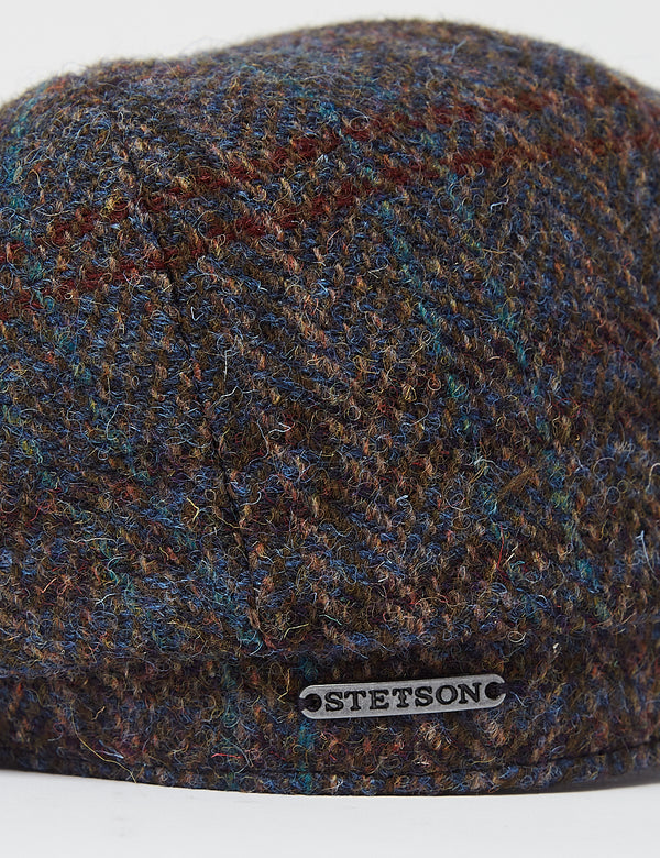Stetson Hatteras Harris Tweed III Flat Cap - Brown/Blue