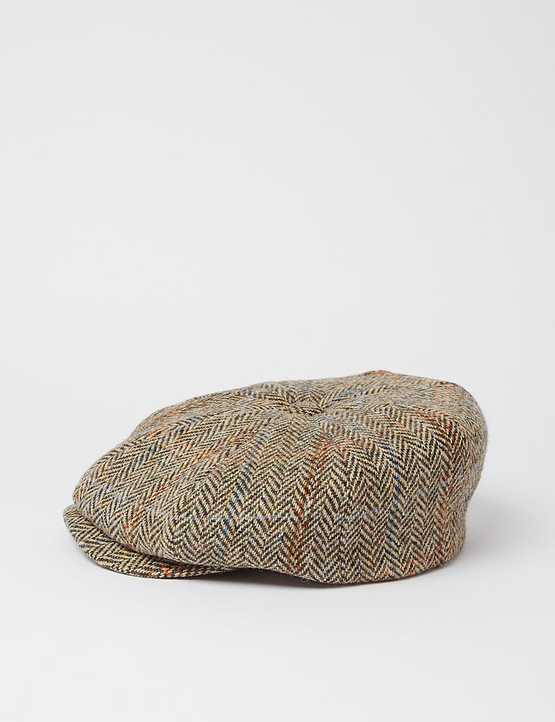 Stetson Hereford Harris Tweed Newsboy Cap - Brown