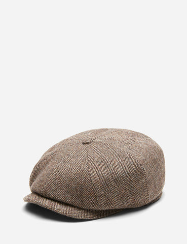 Stetson Hatteras Newsboy Cap (Herringbone) - Brown