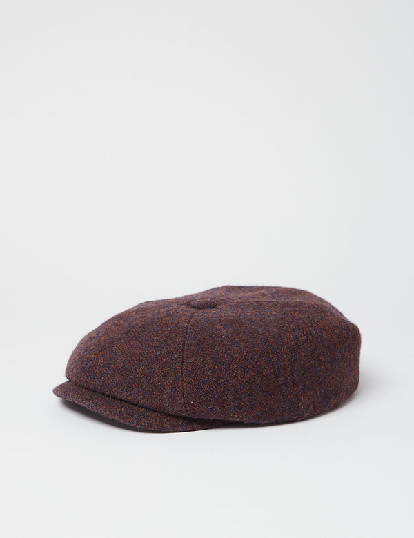 Stetson Hatteras Wool Herringbone Flat Cap - Blue/Red/Brown
