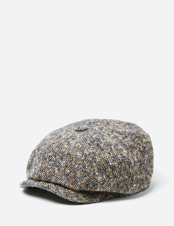Stetson Hatteras Newsboy Cap (Donegal) - Brown/Blue