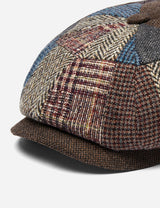 Stetson Hatteras Patchwork Flat Cap (Wool) - Brown/Blue/Grey