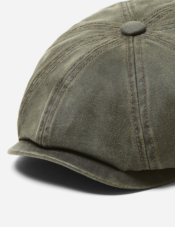 Stetson Hatteras Newsboy Cap (Waxed Cotton) - Olive Green