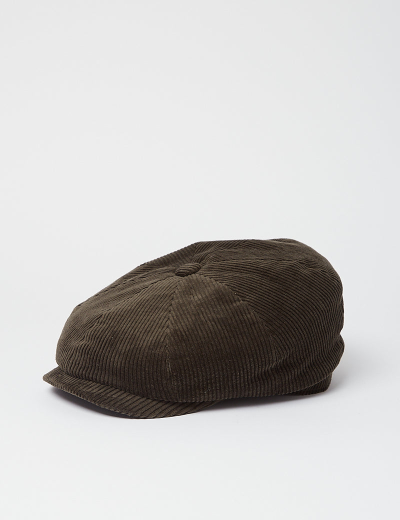 Stetson Hatteras Cord Flat Cap - Olive