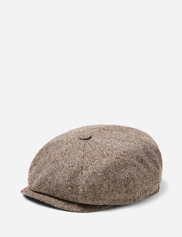 Stetson Hatteras Herringbone Newsboy Cap (Silk) - Brown
