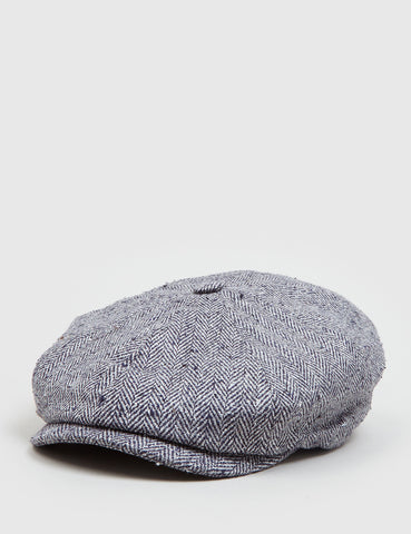 Stetson Hatteras Herringbone Newsboy Cap (Silk) - Black/Grey