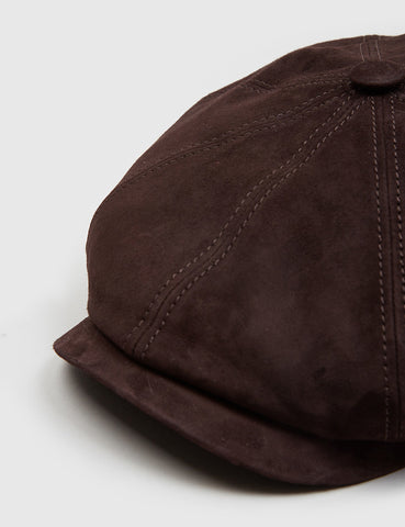 Stetson Hatteras Newsboy Cap (Suede) - Dark Brown