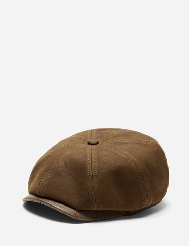 Stetson Hatteras Nappa Newsboy Cap (Lambs Leather) - Brown