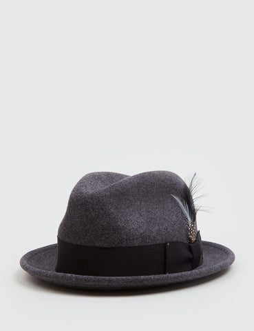 Bailey Tino Felt Crushable Trilby Hat (Wool) - Black Mix