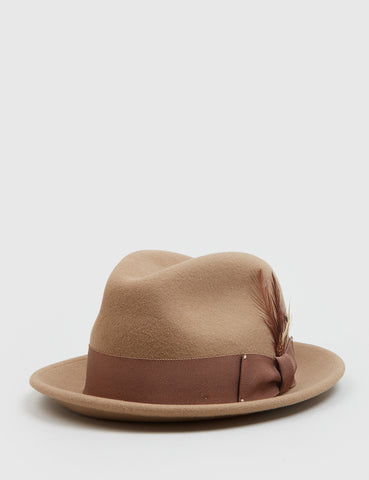 Bailey Tino Felt Crushable Trilby Hat (Wool) - Camel