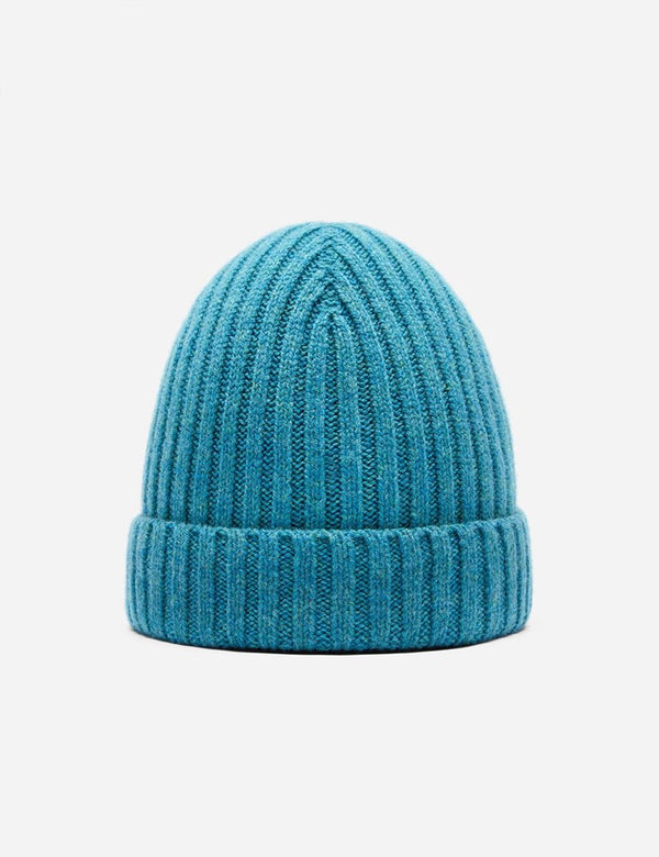 Bhode Rib Beanie Hat (Lambswool) - Barracuda Blue