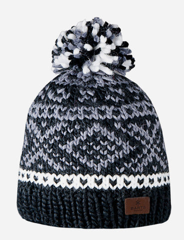 Barts Log Cabin Fair Isle Beanie Hat - Black