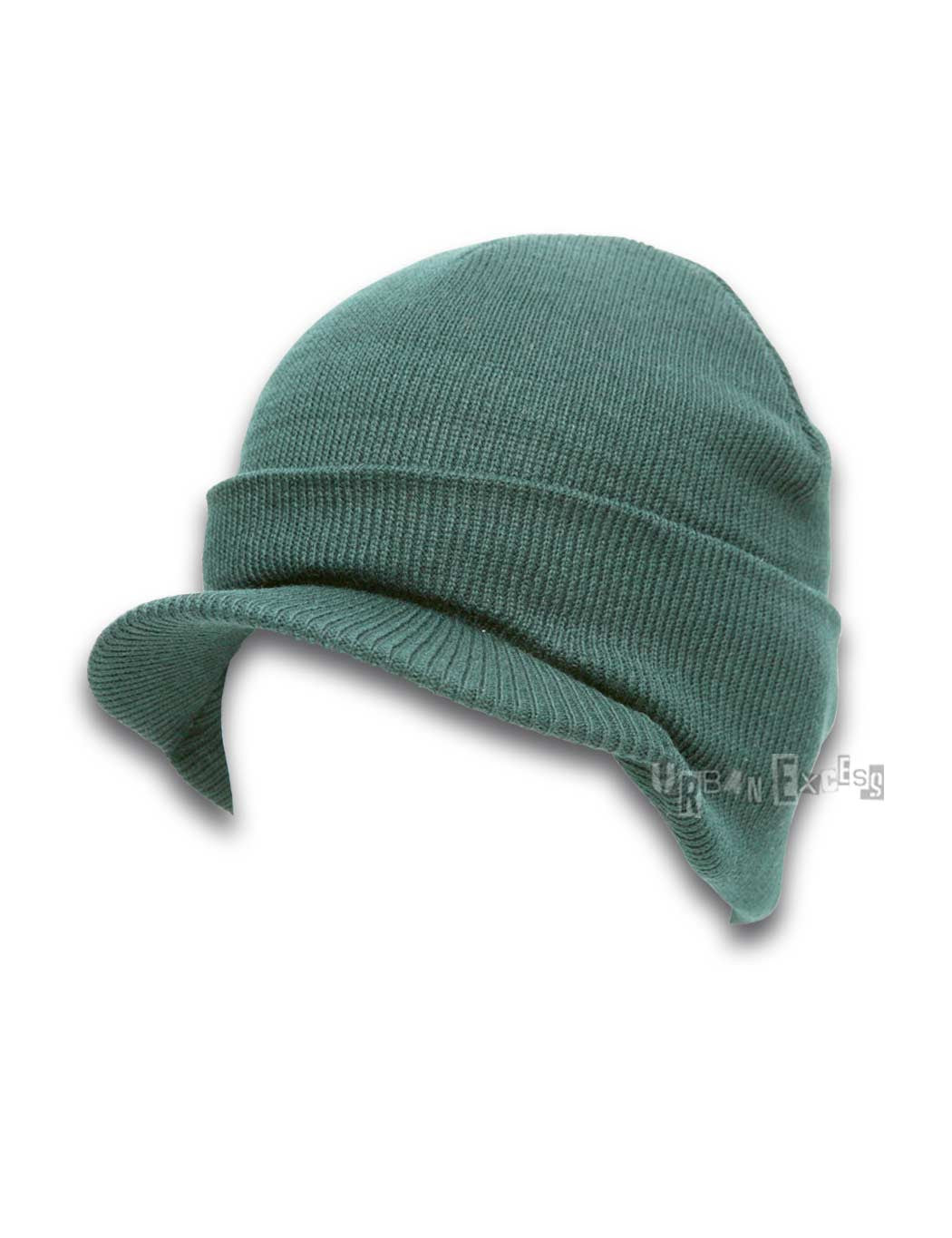 Cuffed Visor Beanie Hat - Dark Green