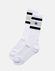 Champion Stripe Ankle Socks - White/Grey/Black