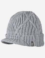 Barts Oscar Peaked Visor Beanie Hat - Heather Grey