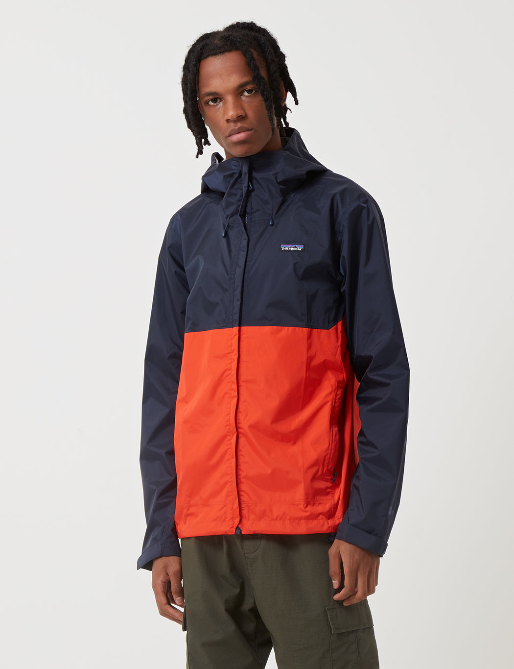 75ec69dc1dcc2 Patagonia Torrentshell Two-Tone Jacket in Navy Blue Paintbrush Red