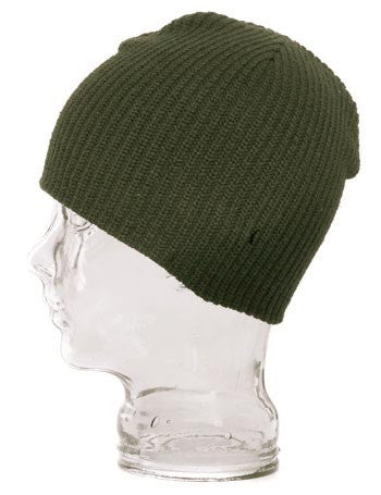UE Shorty Skull Ribbed Beanie Hat - Olive Green