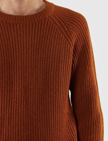 Gant Rugger Half Knitted Jumper - Hotdog Brown