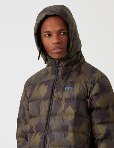 Patagonia Hi Loft Down Bunker Camo Hooded Jacket - Ink Black