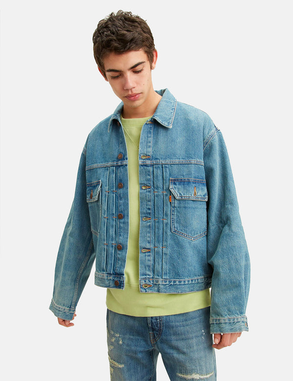 Levis Vintage Clothing Orange Tab Denim Jacket - Grapestake Blue