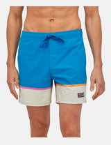 "Patagonia Stretch Wavefarer Volley Shorts (16"", Bottom Leg Stripe) - Joya Blue"