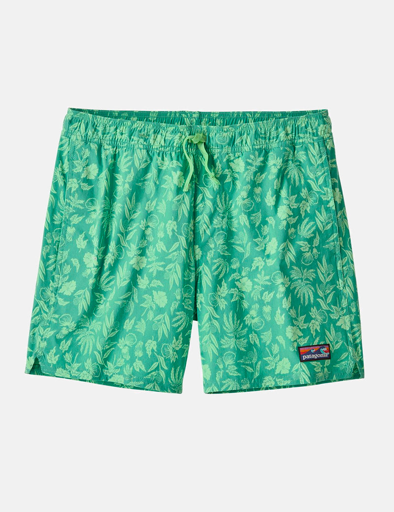 "Patagonia Stretch Wavefarer Volley Shorts (16"", Fiber Flora) - Light Beryl Green"