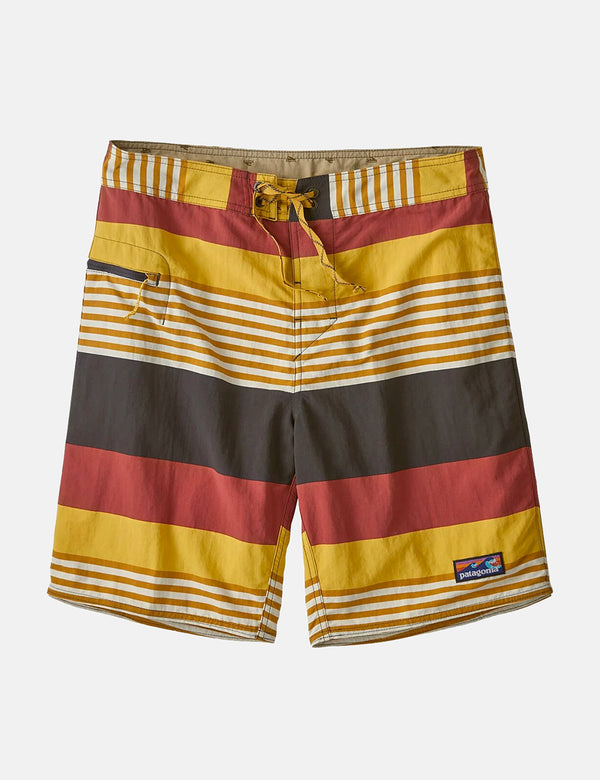 Short de bain Patagonia Wavefarer (19 po) - Fitz Stripe:Surfboard Yellow