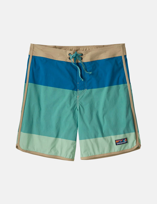 Boardshort Stretch Wavefarer Patagonia à ourlet festonné (18 po) - Color Block Breakup:Light Beryl Green