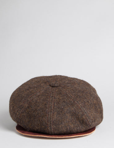 Stetson Hatteras Cotton/Leather Newsboy Cap - Brown
