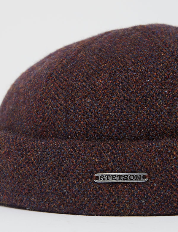 Stetson Docker Wool Herringbone Hat - Burgundy