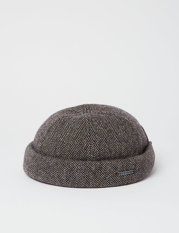 Stetson Docker Wool Herringbone Hat - Grey