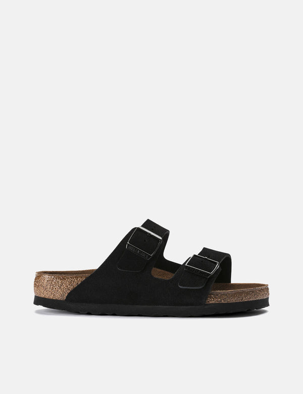 Birkenstock Arizona Suede Leather (Regular, Soft Footbed) - Black