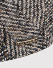 Stetson Madison Herringbone Flat Cap - Black/Brown