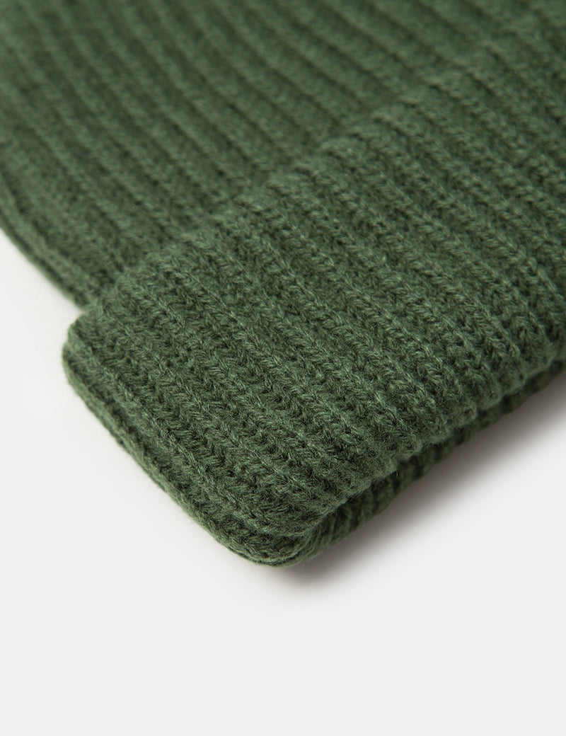Article. Fisherman Rib Beanie Hat - Olive Green