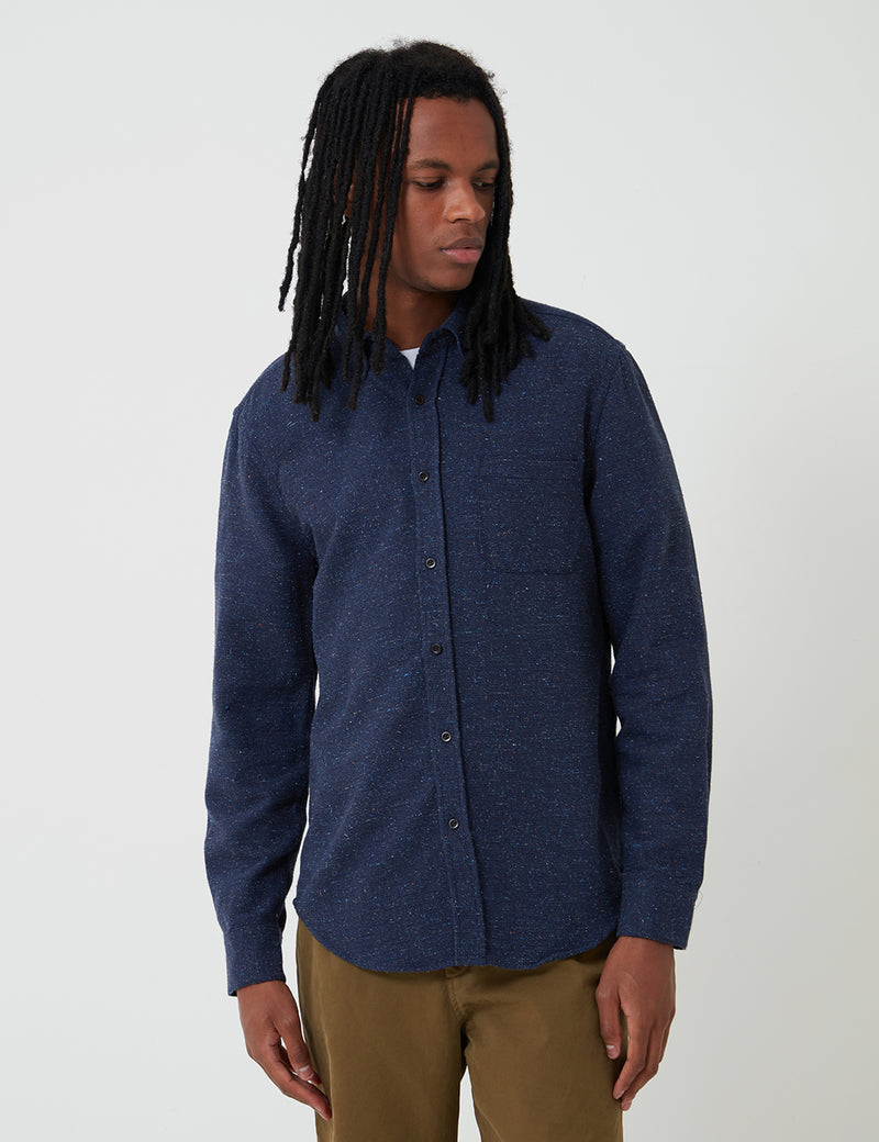 Portuguese Flannel Rude Shirt (Fleck) - Navy Blue