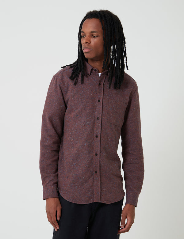 Portuguese Flannel Rude Shirt (Fleck) - Bordeaux
