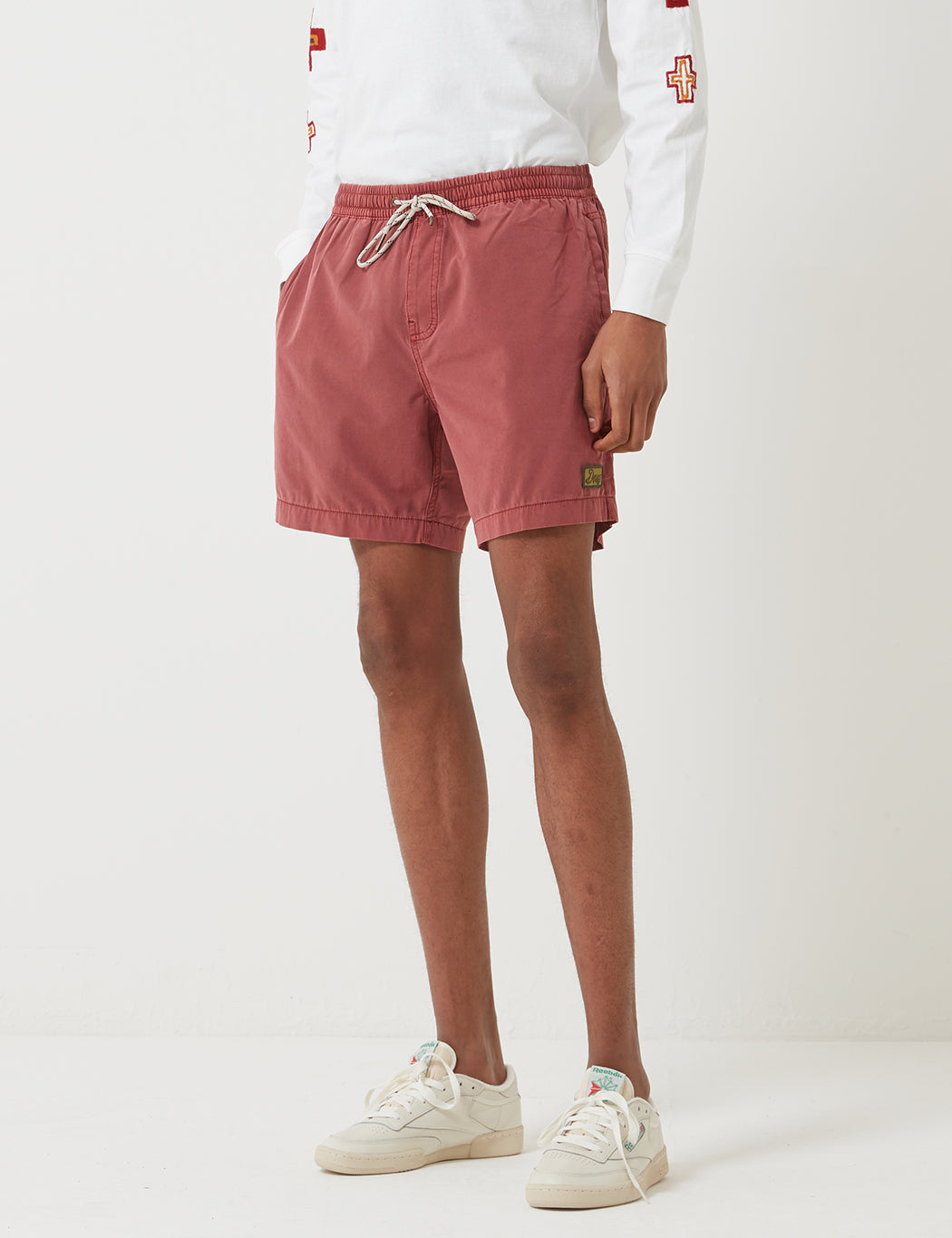 Deus Ex Machina Sandbar Solid Garment Dye Shorts - Red | URBAN EXCESS.