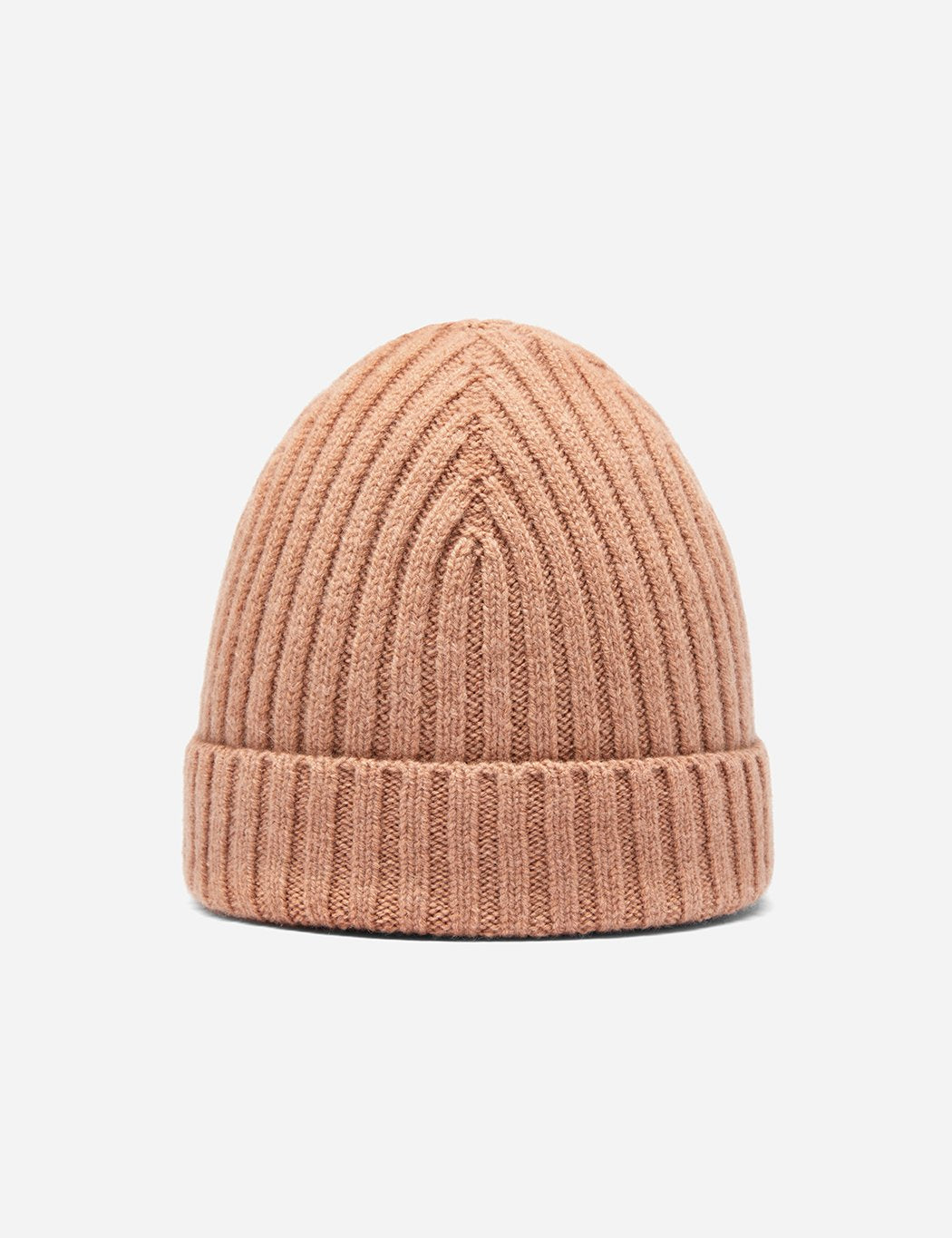 Bhode Rib Beanie Hat (Lambswool) - Camel | URBAN EXCESS,